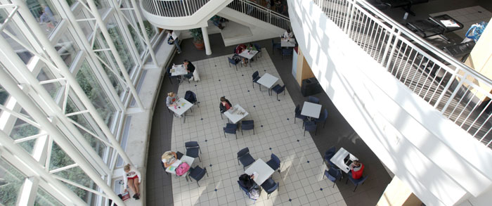 Students studying in Strong Hall lobby